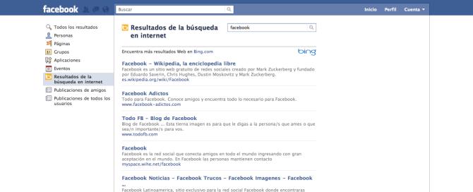 Ejemplo de búsqueda de Bing en Facebook