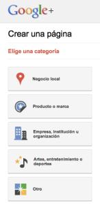 Crear una página en Google+
