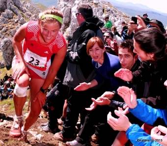 Emelie Forsberg at Zegama Marathon 2013 on her way to victory.