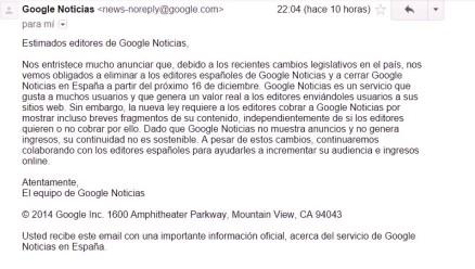 Comunicado Google News editores españoles 11dic14 22h